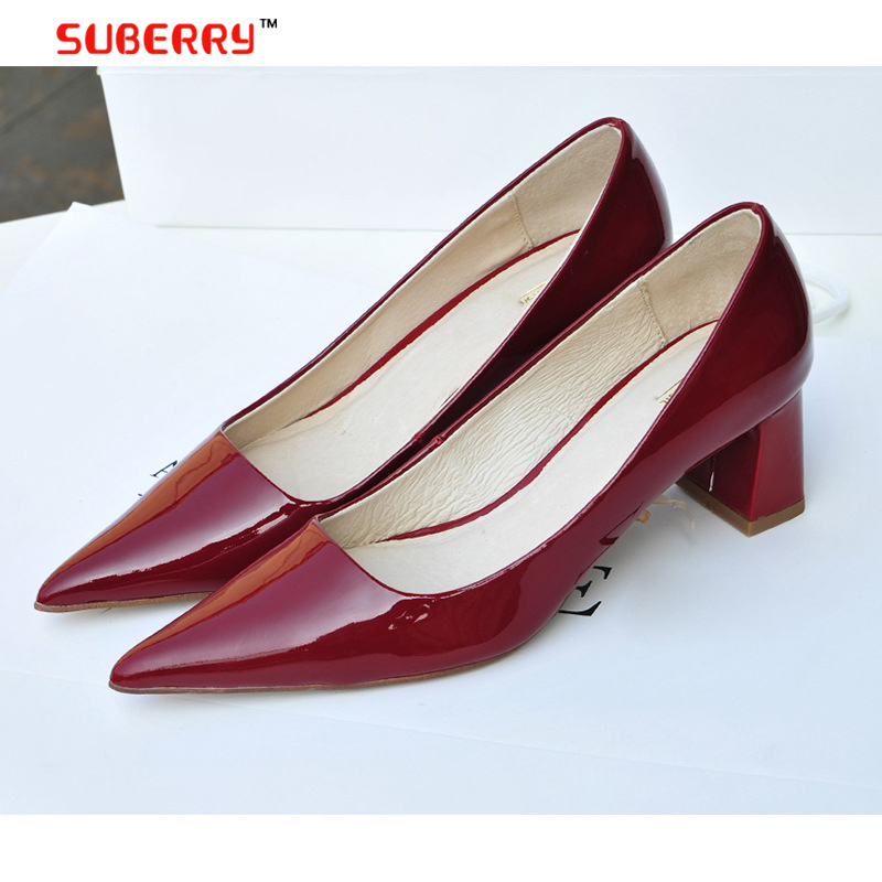 Small Big Size 41 New 2016 Factory Shoe Women Pointed Toe Bottom Low Heel Pump Lady Square Heel Ol Work Career Spring Fall Shoe(China (Mainland))