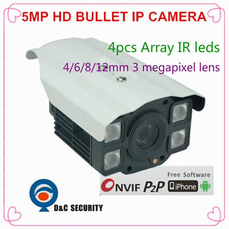 High Quality Onvif 5 MP 1/2.5 Ti CMOS Security Bullet Megapixel P2P Fixed Lens with PoE Network CCTV IP Camera with free bracket(China (Mainland))
