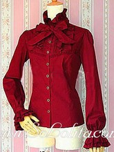 Lolita Red Bowtie Stand Collar Long Sleeves Blouse(China (Mainland))
