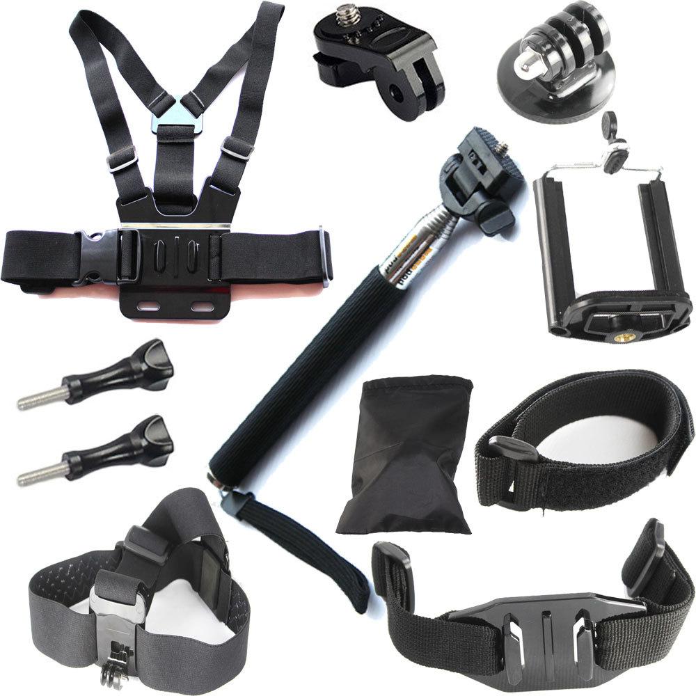 gopro accessories set chest belt head band wrist strap stick selfie monopod go pro hero 5 4 3. Black Bedroom Furniture Sets. Home Design Ideas