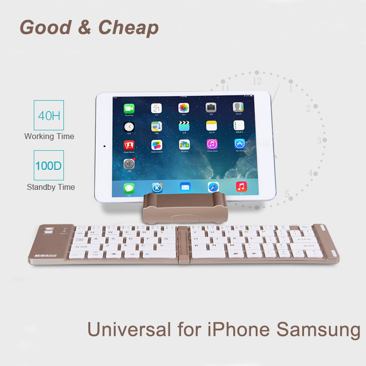 Folding Wireless Tablet Keyboard Bluetooth Portable Universal for Apple iPad IOS & Android Smart Phone Tablet PC With Stand(China (Mainland))