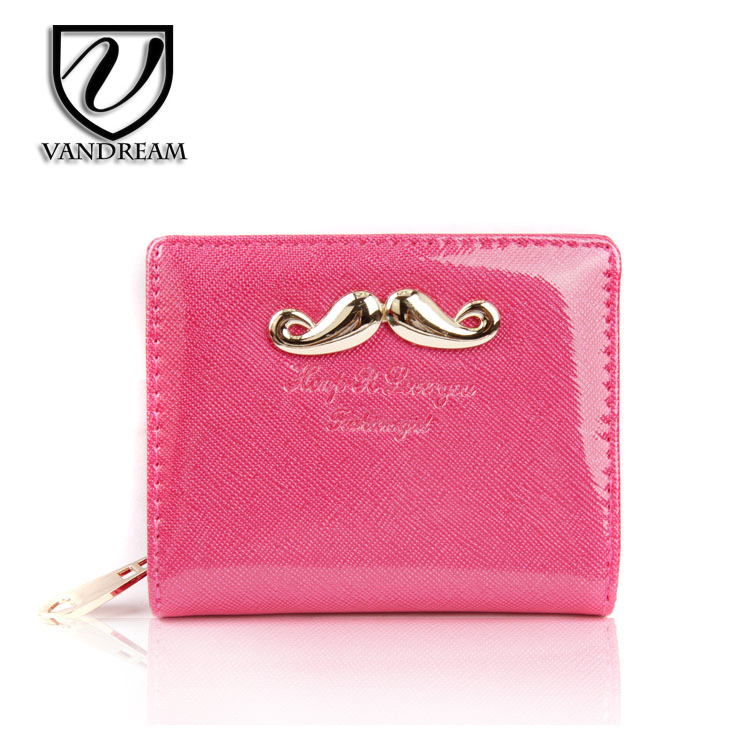 VANDREAM cute wallet purse short wallet purse patent leather woman wallet fashion ladies clutch bags short style 6 color.LW-17(China (Mainland))