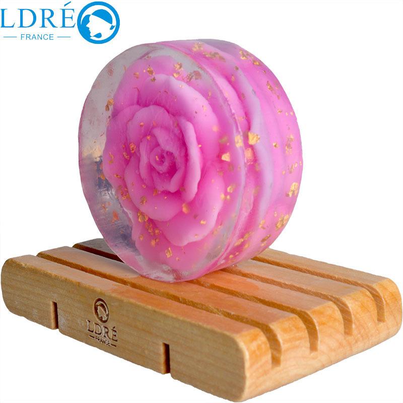 LDRE 24K Gold Soap Rose Flower Soap with Rose Perfume Skin Moisturizing Face or Body Soap 100g Skin Care(China (Mainland))
