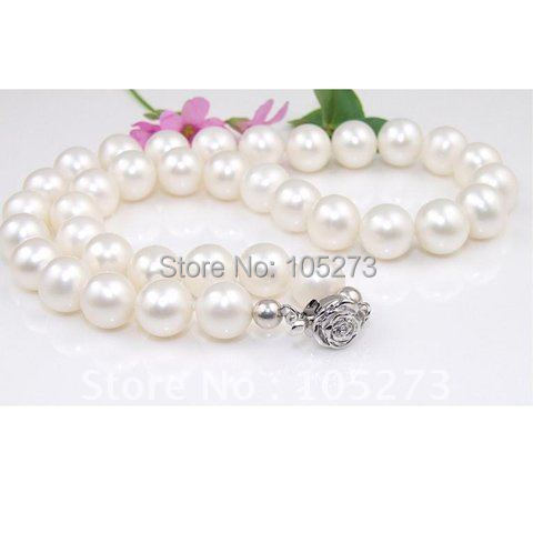 18inch AAA 9-10MM Round shaper White Color Cultured Pearl Necklace S925 Silver Flower Clasp Pearl Jewelry New Free Shipping<br><br>Aliexpress