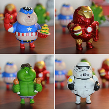 Marvel Fat Iron Man Hulk Captain America Star Wars Stormtrooper PVC Action Figures Collectible Model Toys 10cm