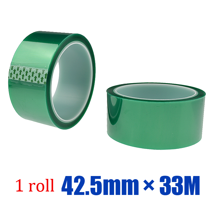 Free shipping 1roll * 42.5mm * 33M High temperature spray adhesive PET green tape(China (Mainland))