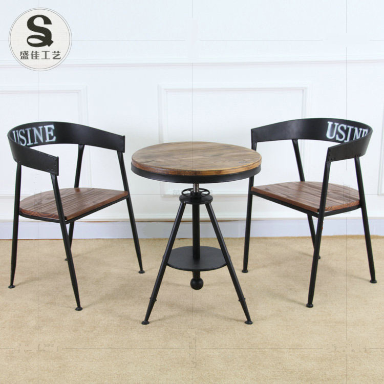 Shengjia Retro Furniture Wrought Iron Wood Round Coffee Table Bar Tea Shop Cafe Chairs Creative