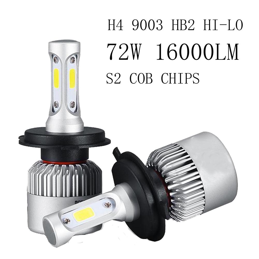 12v 72W Led Car Light Headlight Bulbs 16000LM kit H4 Led Auto Fog Light Combo Beams 6000K Cool White 9003 Led lamp HB2 Headlamps(China (Mainland))