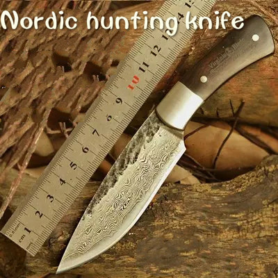 HUNTING KNIFE Hand Hammered Nordic Bowie outdoor knife pattern steel knife Damascus survival knife sharpknife collection process<br><br>Aliexpress