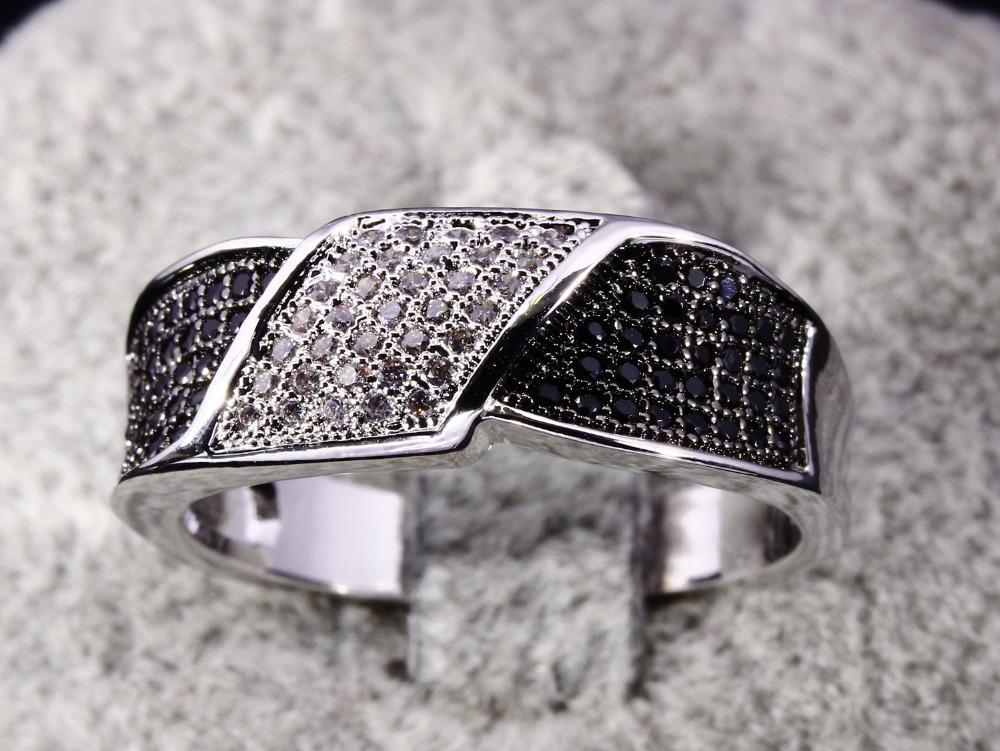 Victoria Wieck Black White Topaz Simulated Diamond 18K White Gold Diamond Silver Engagement Ring Wedding Ring Gift Free Shipping(China (Mainland))