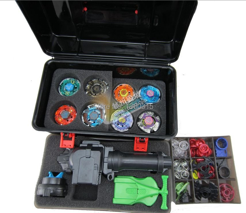 free shipping beyblade set as children toys (more that 30 spare parts + 8 beyblades +1handles +2 launchers + beyblade box )(China (Mainland))