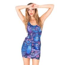 Free size B1038 Fashion Women's 3D printing blue owl flower prints elastic summer sexy Girl sandbeach one-piece tight dress