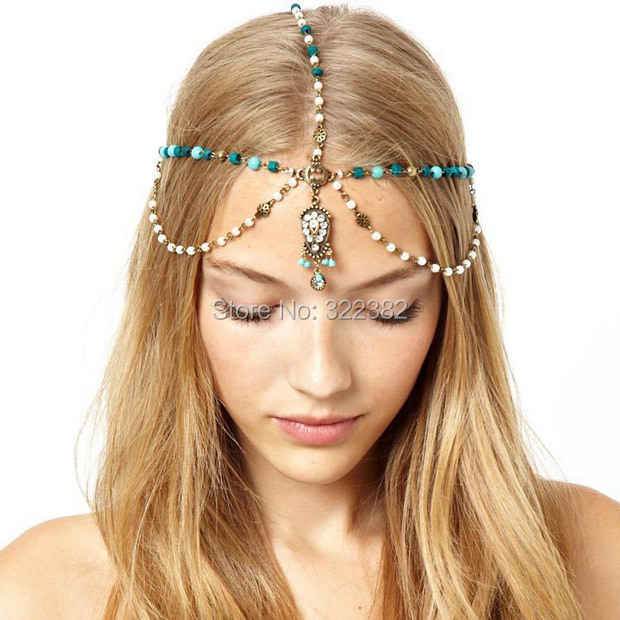 Waterdrop statement jewel faceted pendant charm Hair Crown Head chain for the hair Faux pearls&turquoise beaded chain headbands(China (Mainland))