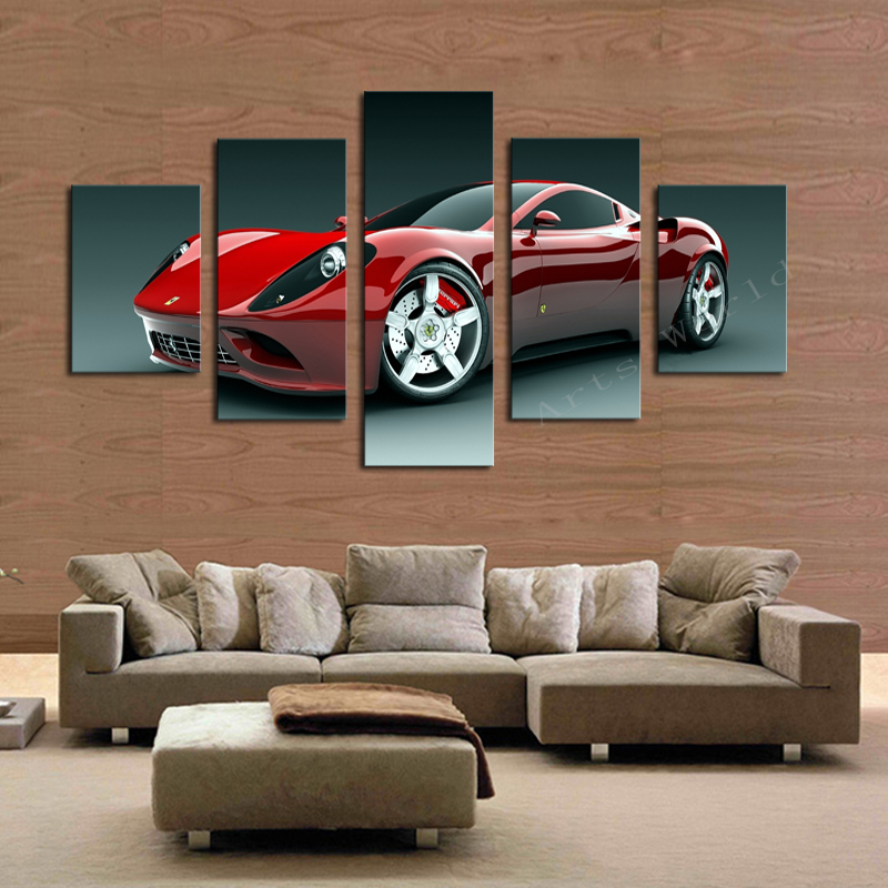 5 pcs red sports car wall art picture home decoration living room canvas print painting wall - Art on walls home decorating ...