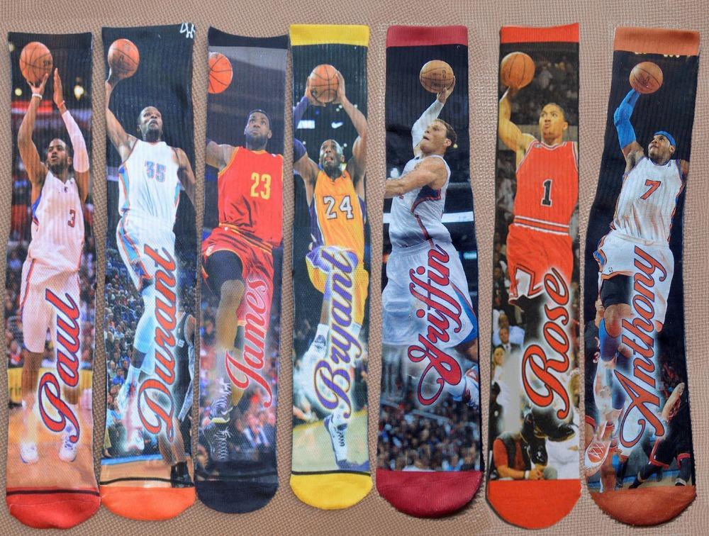 LEBRONS/KOBE/DRANT/ANTHONY/ROSE/GREFFIN Basketball socks Star 3D Printed cheap sport Summer style weed Skate men's brand sale(China (Mainland))