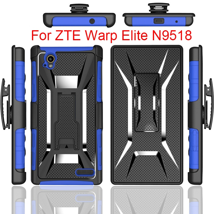 300pcs/lot Heavy Duty Rugged Armor Cell Phone Defender Holster Case For ZTE Warp Elite N9518 Cover With Belt Clip Shockproof