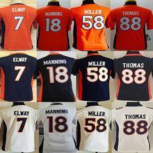 2016 Youth Kids Denver broncos, Manning Customer customization,Von Miller,Paxton Lynch, white blue orange, 100% stitched logo(China (Mainland))