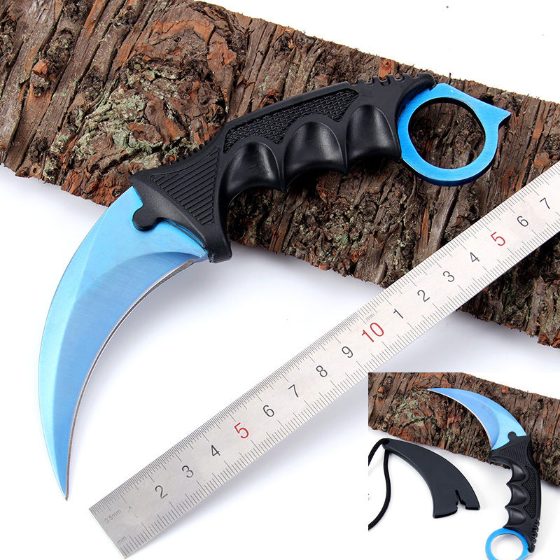 Real CS GO Counter Strike Karambit Knife blue Combat Knife tactical survival pocket Neck knife hunting camping Fighting Claw(China (Mainland))