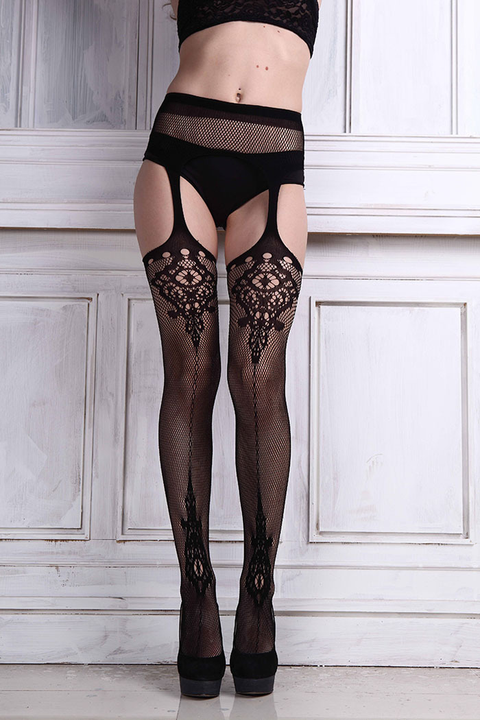 Ladies Special ! High Quality Sexy Womens Lace Stocking Garter Belt Thigh Black Stocking Lingerie net Pantyhose for girl Media(China (Mainland))