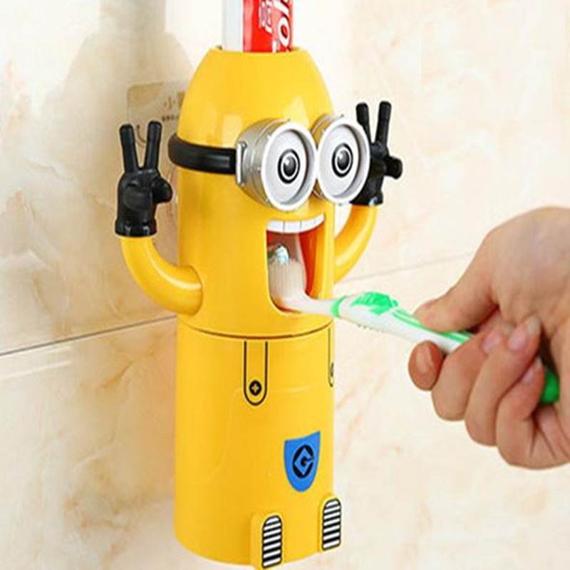 Freeshipping Hot Bathroom Products tooth brush suction-cup Touch N Brush Cartoon Bathroom Sets yellow people wash gargle suit(China (Mainland))