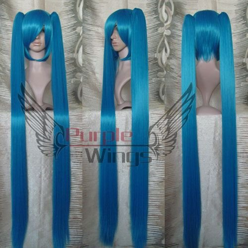 Heat Resistant Anime Cosplay party Fashion Dark Blue Vocaloid Hatsune Miku Cosplay wigs 120CM + Free Wig Cap