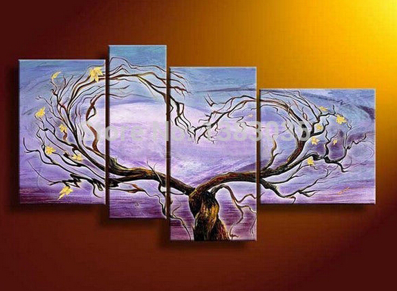 Hand Painted Tree Wall Pictures Heart Oil Painting Modern Abstract 4 Piece Canvas Art Home Decor Sets(China (Mainland))