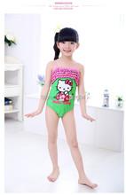 2015 Hello Kitty Kids Swimsuit One Piece 2 10Y Kids Girls Swimwear Cute Bathing Suit for