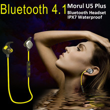 Morul U5 Plus IPX7 Waterproof Sport headset Magnetic Stereo Auriculares Wireless Earbuds handsfree Bluetooth 4.1 with Microphone