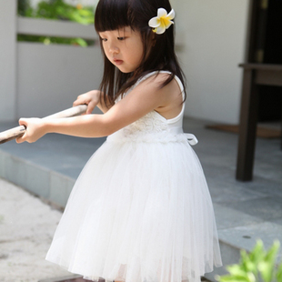 HOT!2015 summer girl's/female Children's  princess wedding  one-piece tank dress baby girl new year party ball flower rose dress