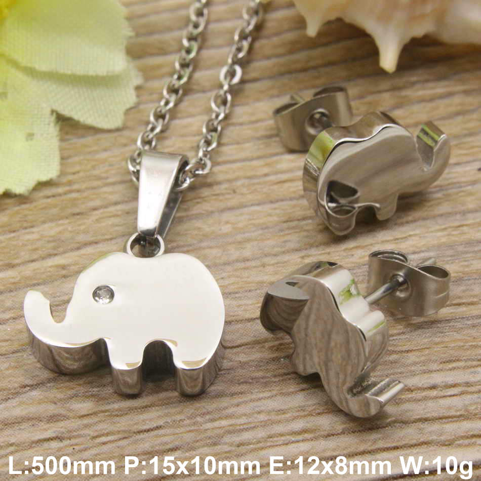 Hot new stainless steel jewelry gold color and silver color Cute elephant necklace Pendant Earrings sets for women SBJDXDBC(China (Mainland))