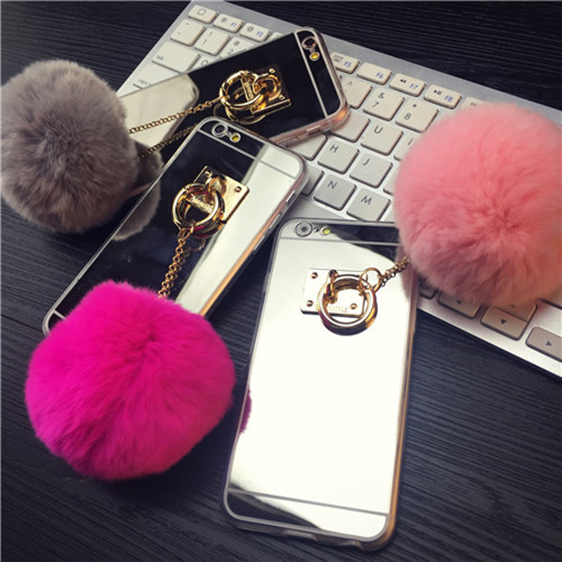 Fashion Luxury Metal Rope Mirror TPU Cute Rabbit Fur Ball Phone Cases For iPhone 6 6S 6/6S Plus 5 5S SE Back Covers Case Capa