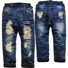 3932 hole winter jeans kids boy jeans denim and fleece NAVY BLUE CASUAL pants trousers boys child solid warm new 2016(China (Mainland))
