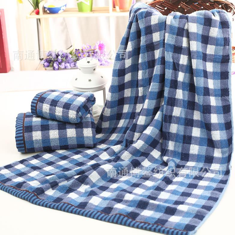 Japan infield Style Blue Plaid Cotton Bath Towels 60*120cm Children Adult Men Soft and absorbent No fade lint-Free Towel Quality(China (Mainland))