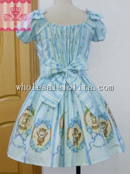 Sweet Forest Band Printing Sky Blue Stripe OP Lolita Dress