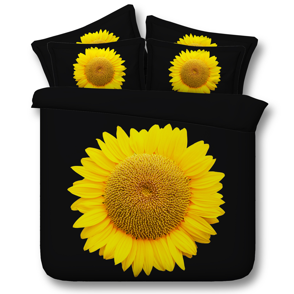 4 Parts of one Set Beautiful Sunflower on Black digital 3d print floral bed linen set(China (Mainland))