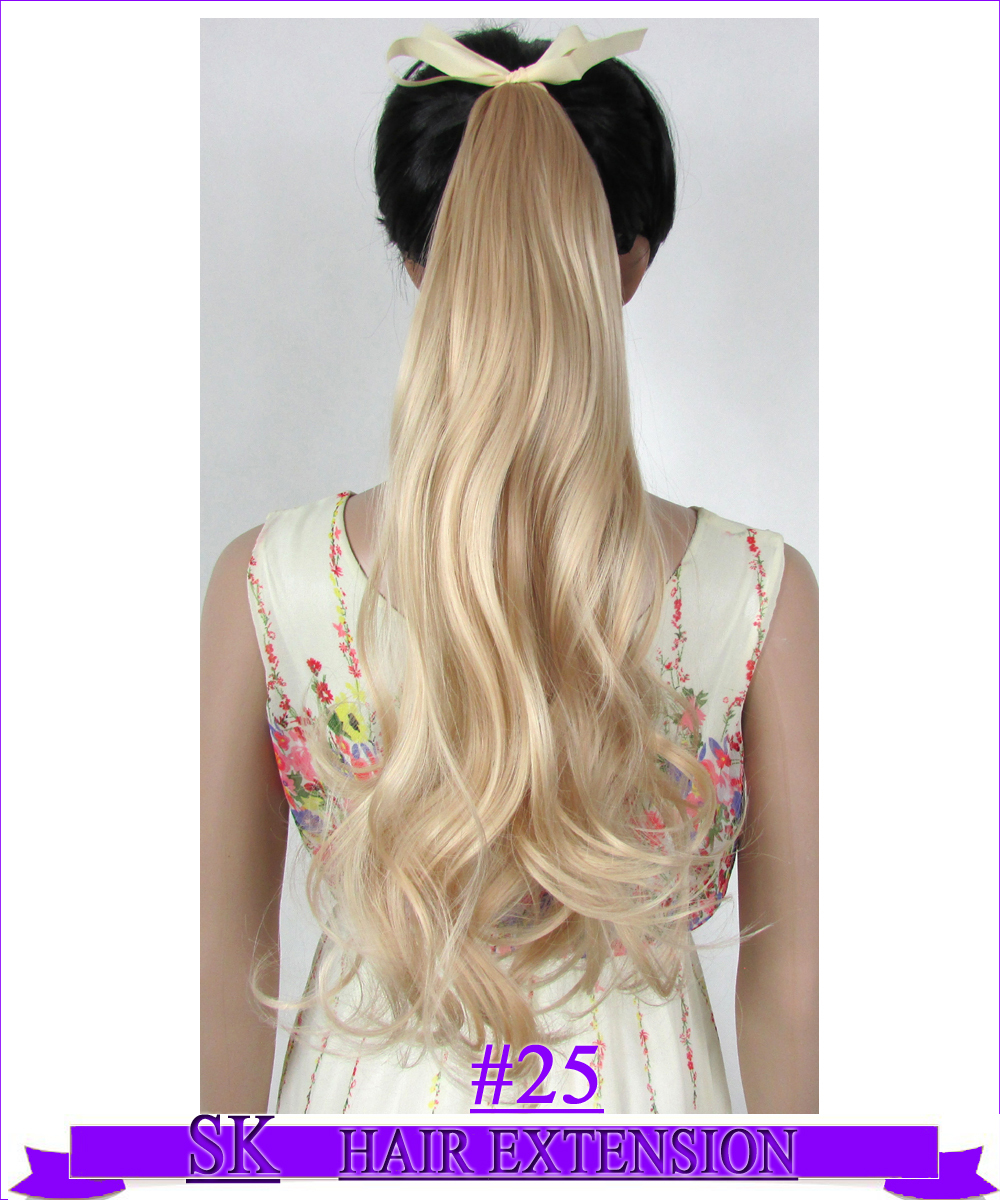"Гаджет  22"" (55cm) 90g body wave ribbon ponytail no shiny hot resistant fiber clip in hair extensions  #25 Golden Blonde None Волосы и аксессуары"