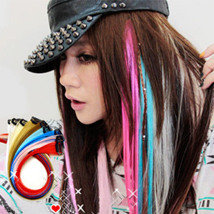 wholesale 50 pcs/lot  Popular Colorful synthetic Clip-in Hair Extension  50cm can use heat -Free shipping