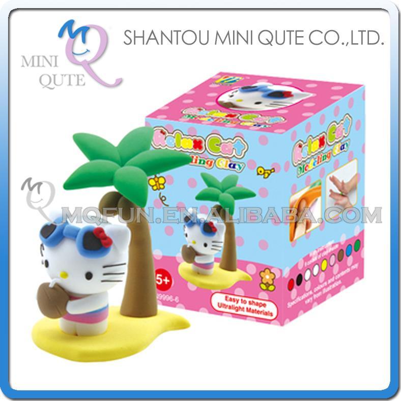 Mini Qute Bonnie kawaii Coconut Tree hello Kitty DIY cartoon model building block plasticine clay educational toy NO.BN9996-6(China (Mainland))