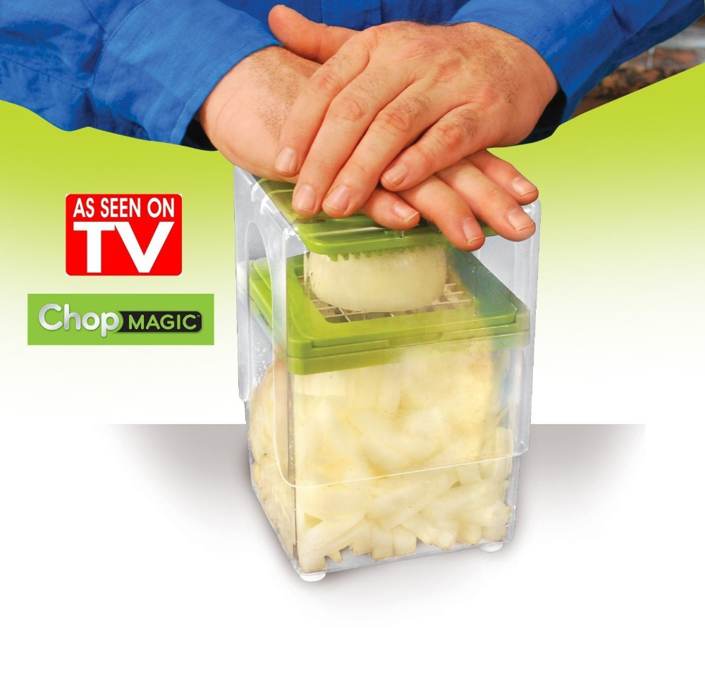 2014 Chop Magic As Seen On TV Food Chopper Fast Easy Way To Slice Dice In Seconds Blades Pusher And A 6 Cup Container Fruit Tool()