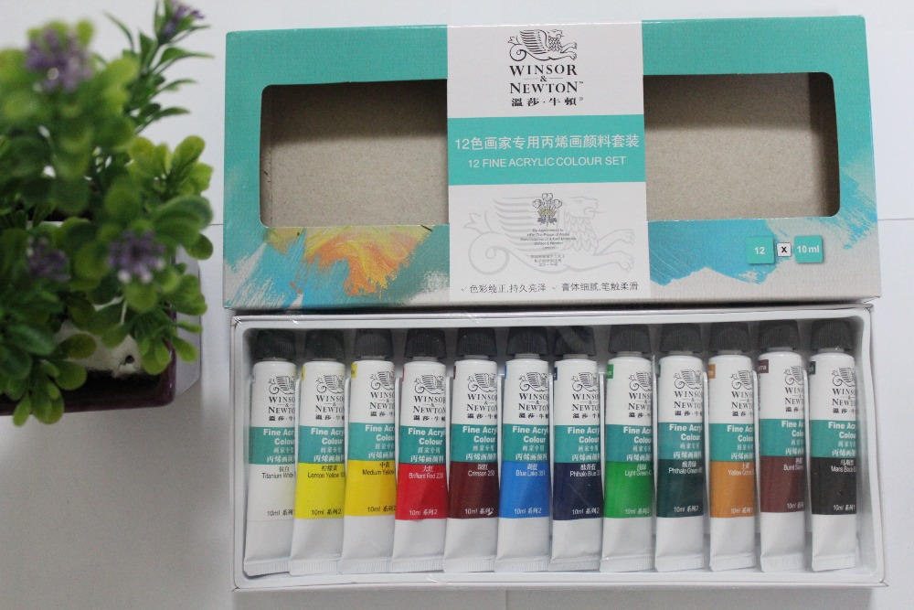 New hot 2015 Winsor Newton 12colorsX10ML acrylic paint hand-painted wall painted DIY painting kit waterproof paint free shipping(China (Mainland))