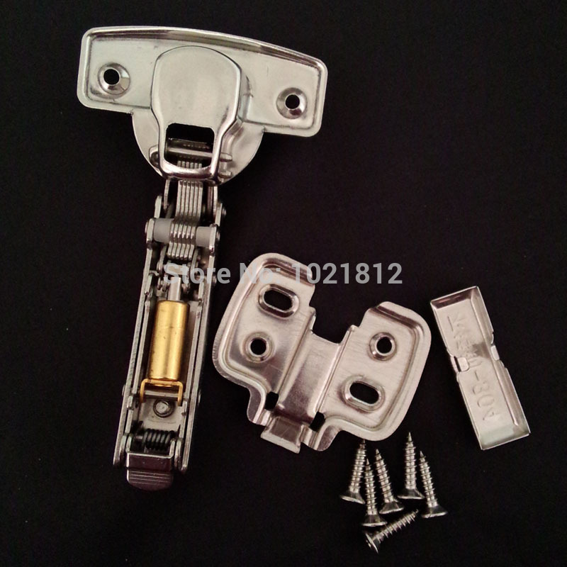 1 Pair Full Overlay 1.5mm Thickness Hydraulic Cabinet Hinge 304 Stainless Steel Soft Close Brass Buffering Clip-on Base Hinge(China (Mainland))