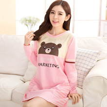 Autumn Spring Women Cotton Sleepwear For Women&Girls Cool long Sleeve homewear Loose Sleepshirt Fashion Cartoon Bear Nightgown