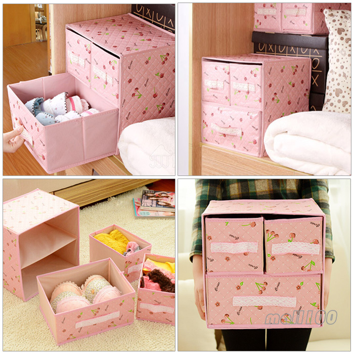 3Set Portable Underwear storage box foldable organizer drawer closet jewelry Pink(China (Mainland))