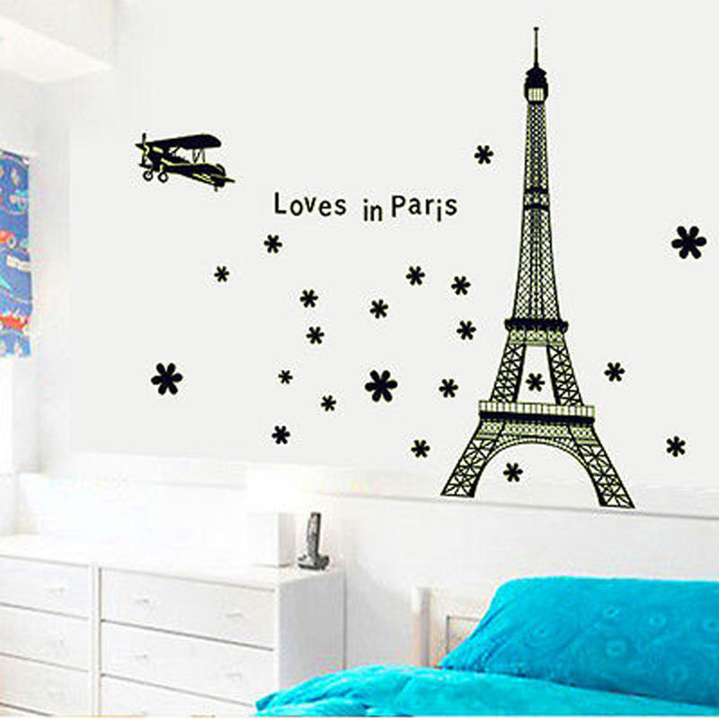 2016 new arrival mural vinyl decal image eiffel tower for Eiffel tower mural