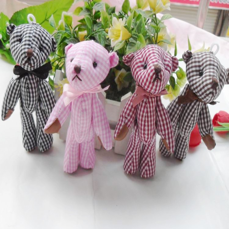 11cm plaid joint bears plush toy fabric doll pendant accessories grid cloth bow tie(China (Mainland))