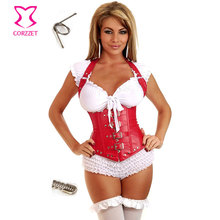 Steampunk Clothing Women Corpet Corselet Underbust Halter Corset Sexy Red Leather Steel Bone Waist Trainer Corses Para Mujer