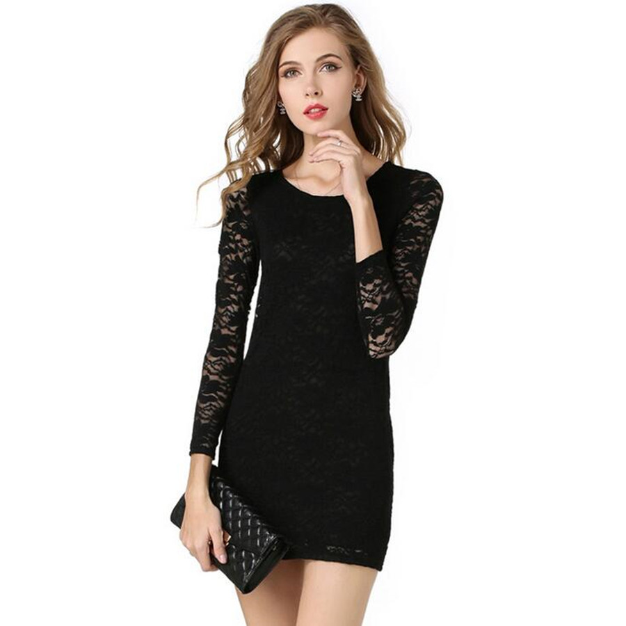 Women Black Patchwork Lace Dresses Autumn Above Knee Cassual Full Sleeve Good Quality Slim Looking Large Size Sexy Fashion Trend(China (Mainland))