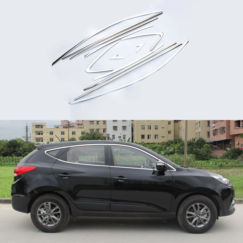 16 Pcs/Set Stainless Steel Car Styling Full Window Decoration Strips Trim For Hyundai IX35 2013 2014 2015  Exterior Accessories<br><br>Aliexpress
