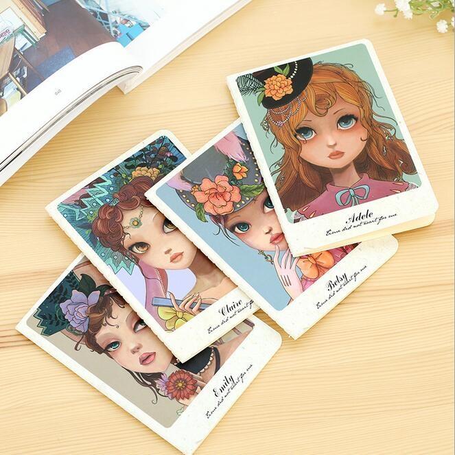 142*105mm/New Vintage Flower Girl Series 64K White Blank notebook/kids Diary agenda/office school supplies/wholesale<br><br>Aliexpress