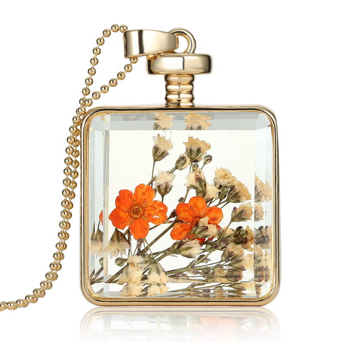 Simulation Dried flowers Transparent Pendant necklaces cannot open necklace 2015 New square memory glass Locket necklace women(China (Mainland))